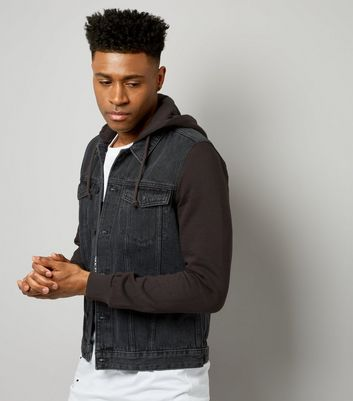 Grey Jersey Sleeve Hooded Denim Jacket