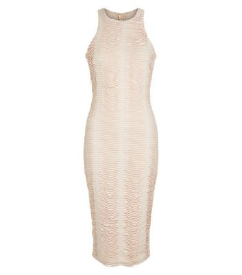 AX Paris Cream Ruched Midi Dress