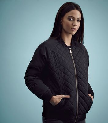 Black Quilted Panel Bomber Jacket