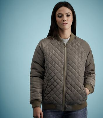 Khaki Quilted Panel Bomber Jacket