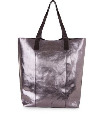 Pewter Leather Metallic Shopper Bag