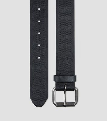 Black Leather Look Textured Belt