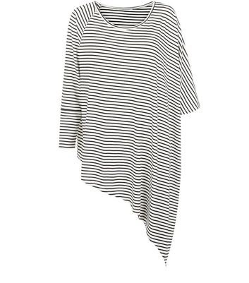 White Stripe Asymmetric Oversized T-Shirt