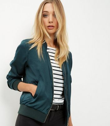 Dark Green Sateen Bomber Jacket | New Look