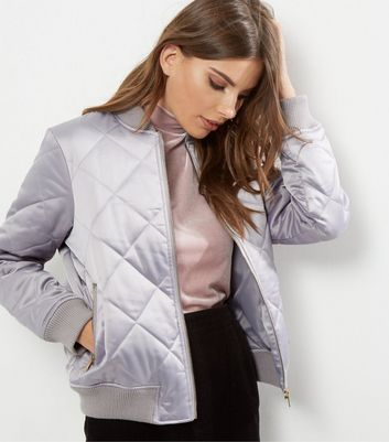 Grey Quilted Padded Bomber Jacket
