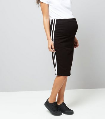 Maternity Black Over Bump Contrast Trim Skirt