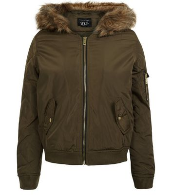 Teens Khaki Faux Fur Hooded Bomber Jacket