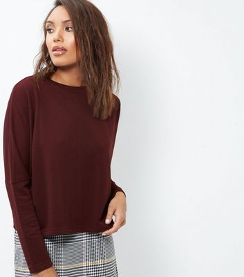 Burgundy Batwing Sleeve Cropped Sweater