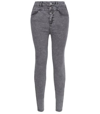 Tall 36in Grey High Waisted Skinny Jeans