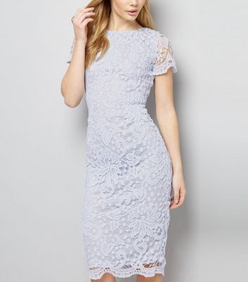 AX Paris Pale Blue Crochet Lace Midi Dress