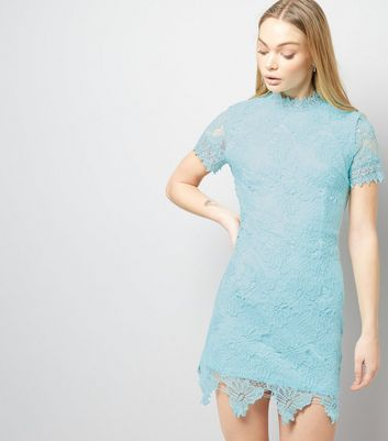 AX Paris Light Blue Lace Funnel Neck Dress