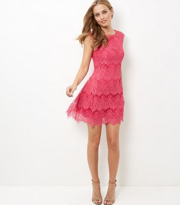 AX Paris Mid Pink Crochet Lace Skater Dress
