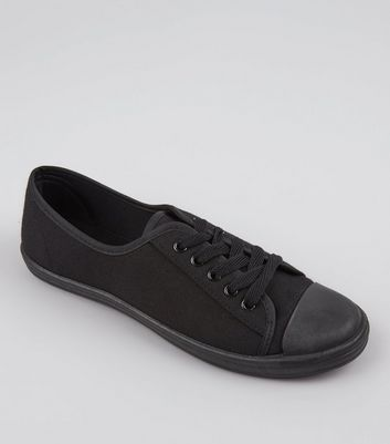 Teens Black Lace Up School Plimsolls
