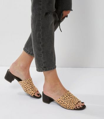 Stone Animal Print Suedette Mules