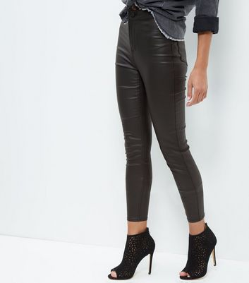 Black Coated High Waisted Super Skinny Jeans