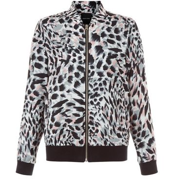 White Animal Print Bomber Jacket