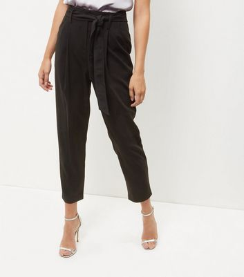 Tall Black Belted Cropped Trousers