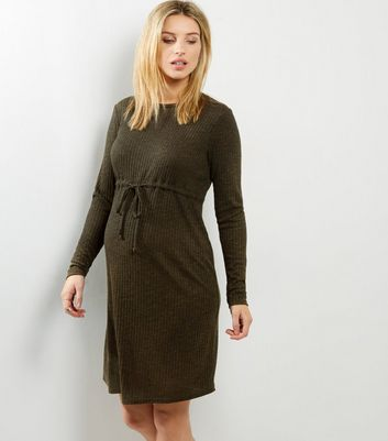 Maternity Khaki Ribbed Drawstring Waist Dress