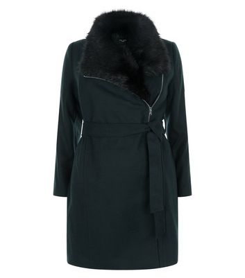 Curves Dark Green Faux Fur Collar Belted Coat