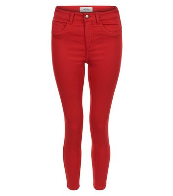Red Ankle Grazer Skinny Jeans