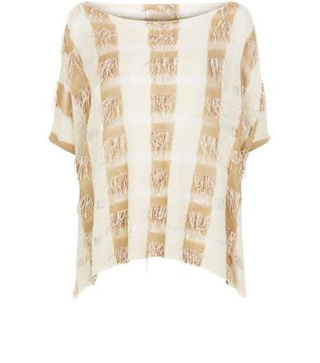 Apricot Stone Check Fringed Top