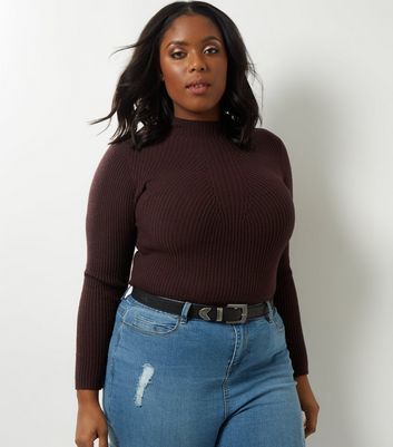 Curves Burgundy Ribbed Funnel Neck Jumper