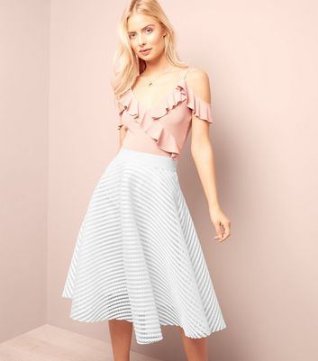 White Mesh Stripe Midi Skater Skirt