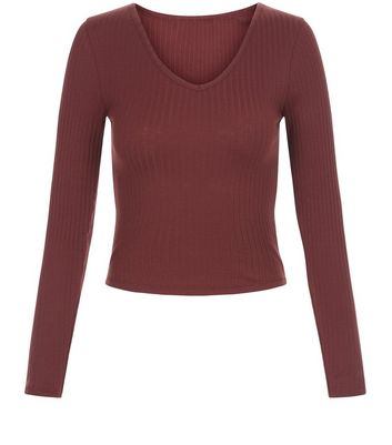 Teens Burgundy V Neck Long Sleeve Top