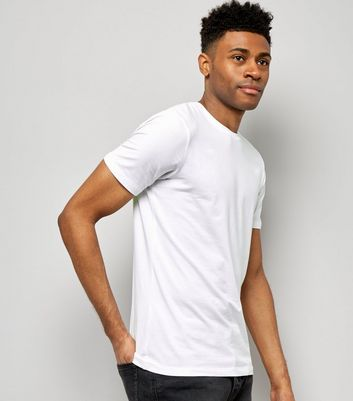 T-shirt blanc Muscle Fit en coton mélangé stretch