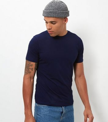Navy Stretch Crew Neck T-Shirt