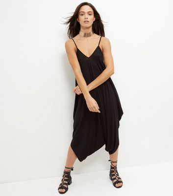 Black V Neck Drape Jumpsuit