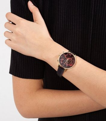 Black Dark Marble Effect Dial Watch