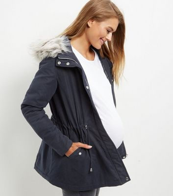 Maternity Navy Faux Fur Trim Hooded Parka Jacket | New Look