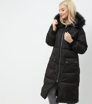 Petite Black Faux Fur Trim Hooded Longline Coat | New Look