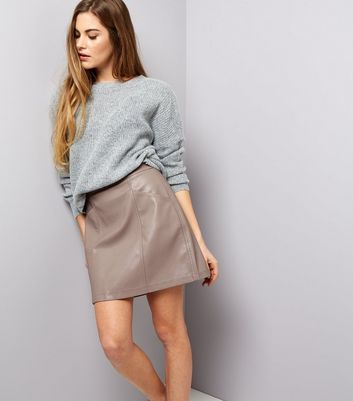Mink Seam Trim Leather-Look Mini Skirt