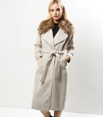 Petite Cream Faux Fur Collar Belted Longline Coat