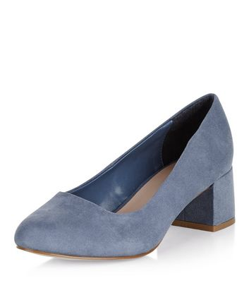 Wide Fit Pale Blue Suedette Court Shoes