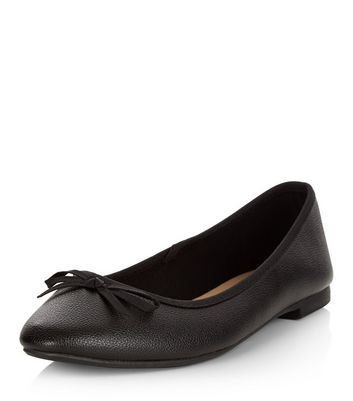 Wide Fit Black Leather-Look Ballet Pumps
