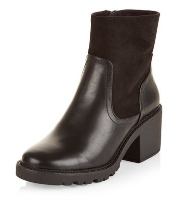 Teens Black Leather-Look High Ankle Block Heel Boots