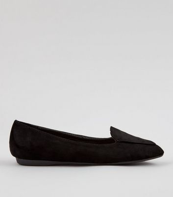 Teens Black Pointed School Pumps