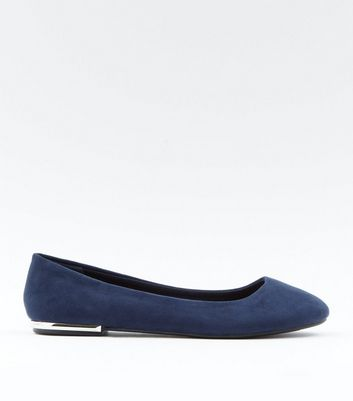 Wide Fit Navy Suedette Metal Trim Ballet Pumps