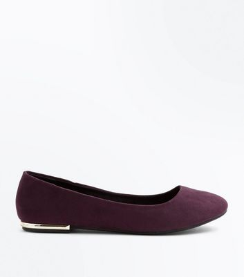 Wide Fit Purple Suedette Metal Trim Ballet Pumps