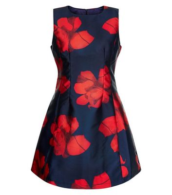 AX Paris Navy Floral Print Sleeveless Skater Dress