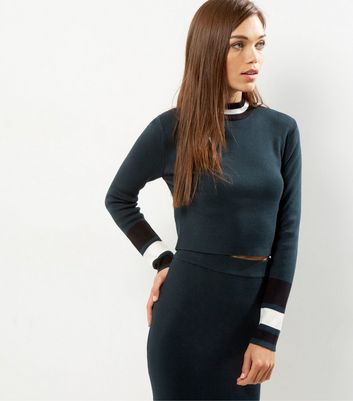 Dark Green Contrast Stripe Trim Jumper
