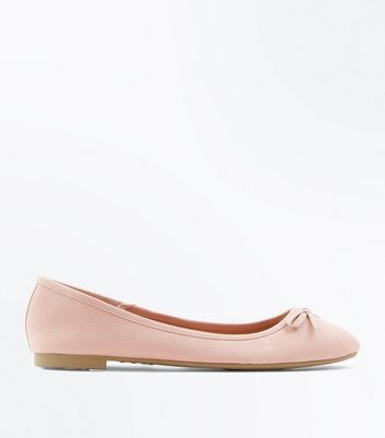 Wide Fit Pink Suedette Ballet Pumps