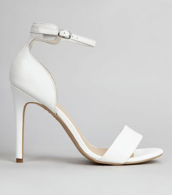 White Leather Ankle Strap Sandals