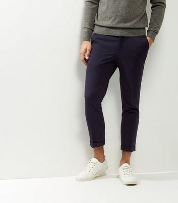 Navy Slim Cropped Trousers