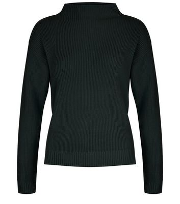 Teens Dark Green Ribbed Funnel Neck Jumper