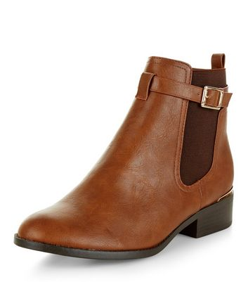 Tan Buckle Strap Metal Trim Chelsea Boots