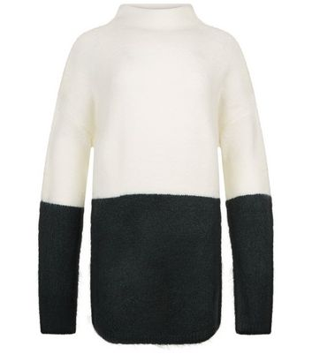 Teenager – Dunkelgrüner Oversized-Pullover im Colourblock-Design